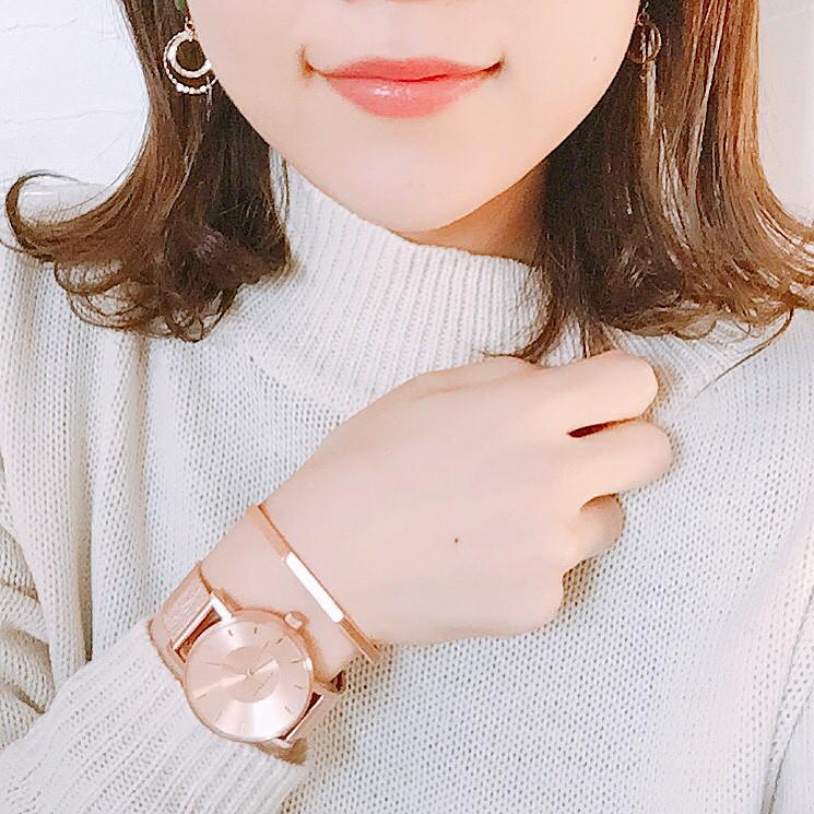 ピンクベースの時計で大人カワイイコーデに♡ wear.chicchimo