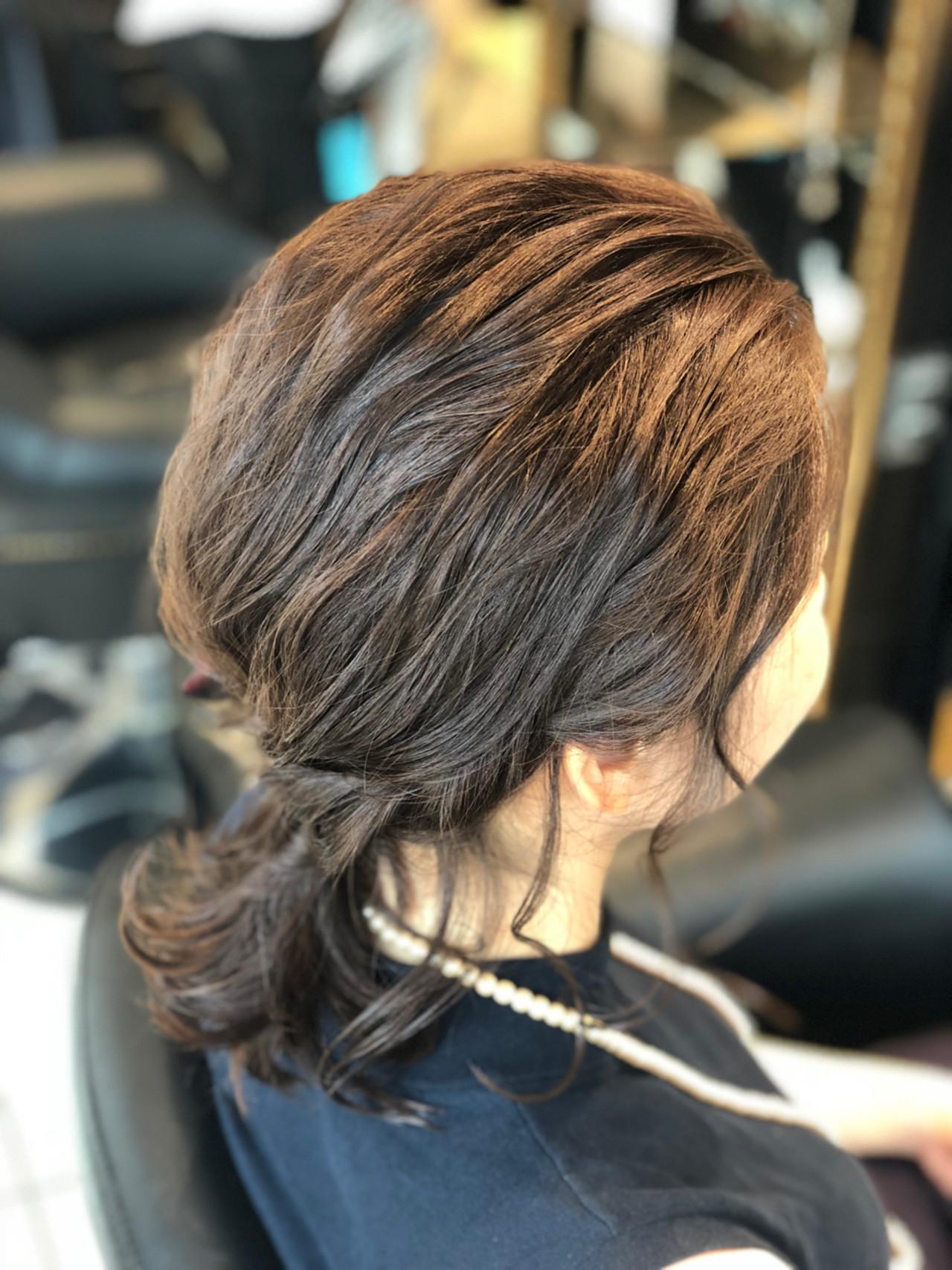 ローポニーテール ヘアアレンジ ボブ 結婚式 ヘアスタイルや髪型の写真・画像