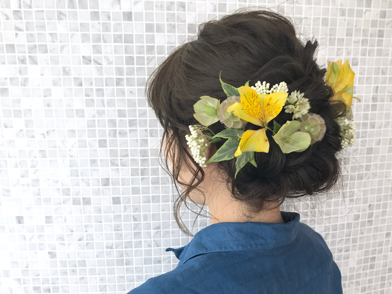 成人式 ヘアアレンジ 結婚式 セミロング ヘアスタイルや髪型の写真・画像
