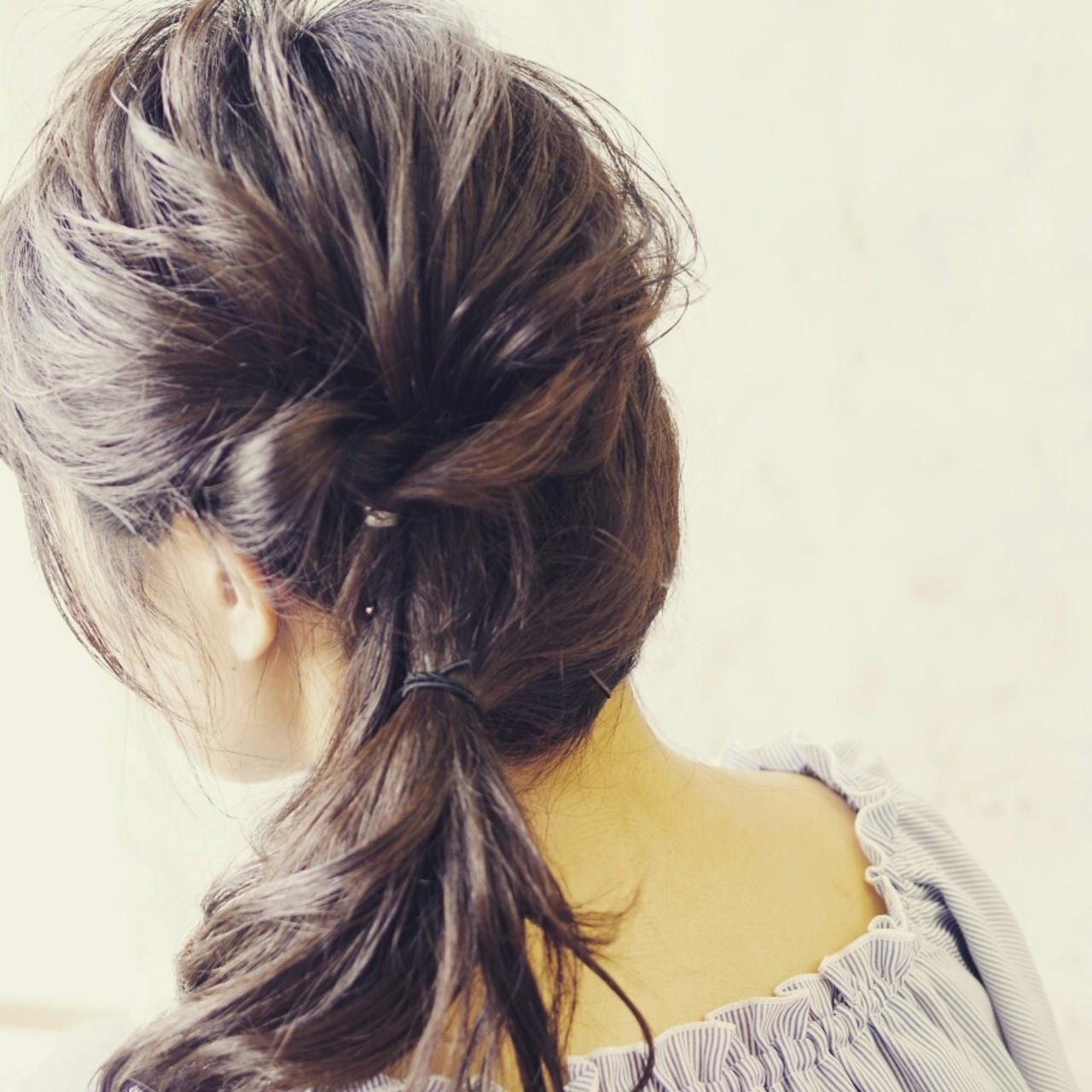 ヘアアレンジ ゆるふわ ハーフアップ ミディアム ヘアスタイルや髪型の写真・画像