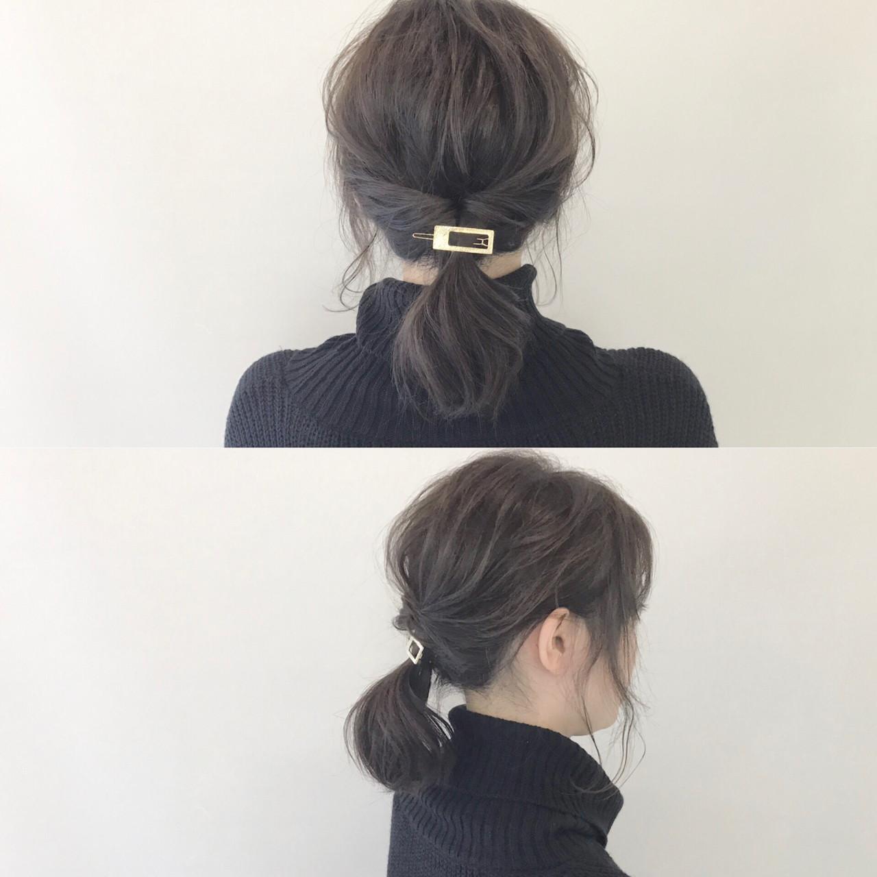シンプルなくるりんぱポニーはヘアアクセを+ 新谷 朋宏 | Free hairstylist shinya