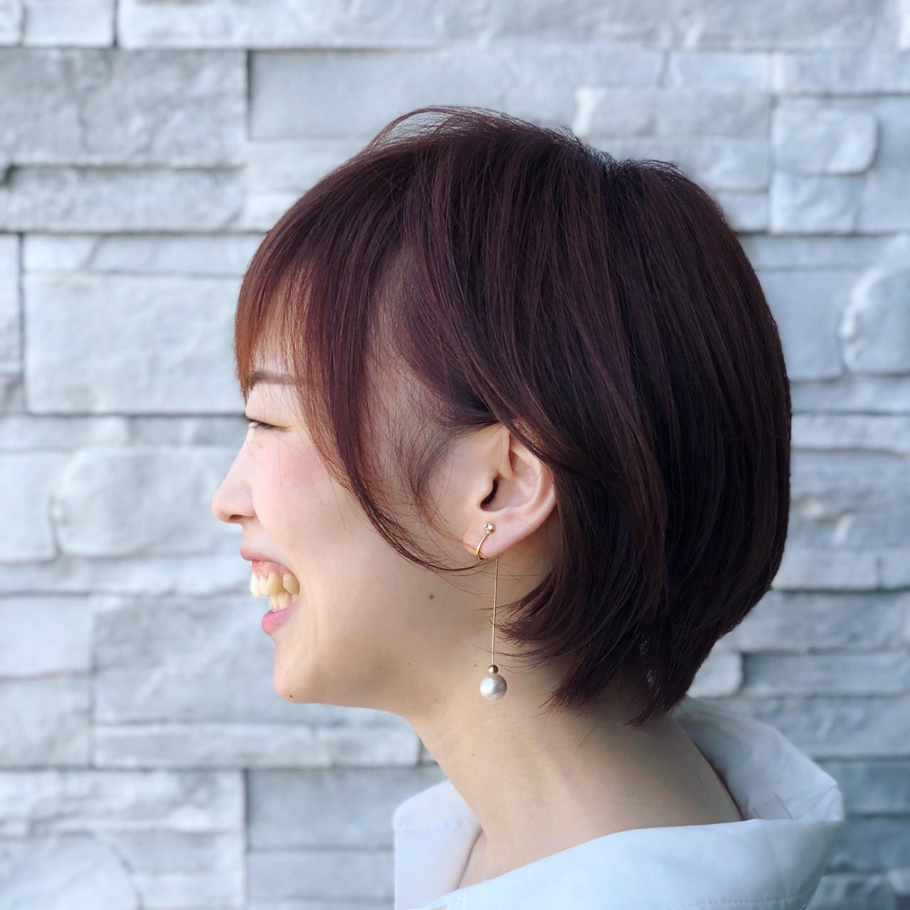 耳かけ イルミナカラー ナチュラル ショート ヘアスタイルや髪型の写真・画像