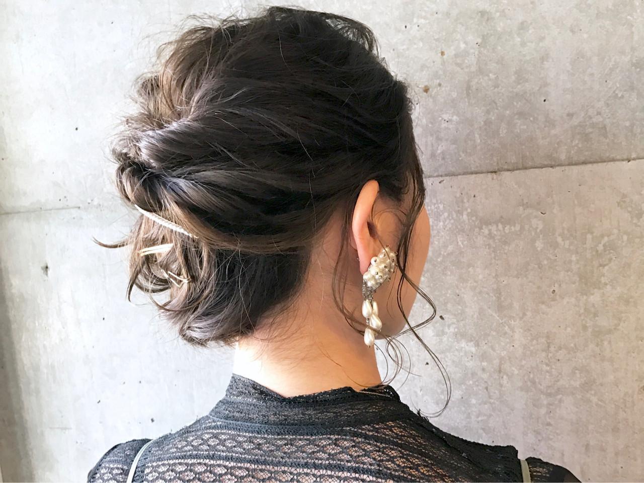 上品 結婚式 ヘアアレンジ エレガント ヘアスタイルや髪型の写真・画像