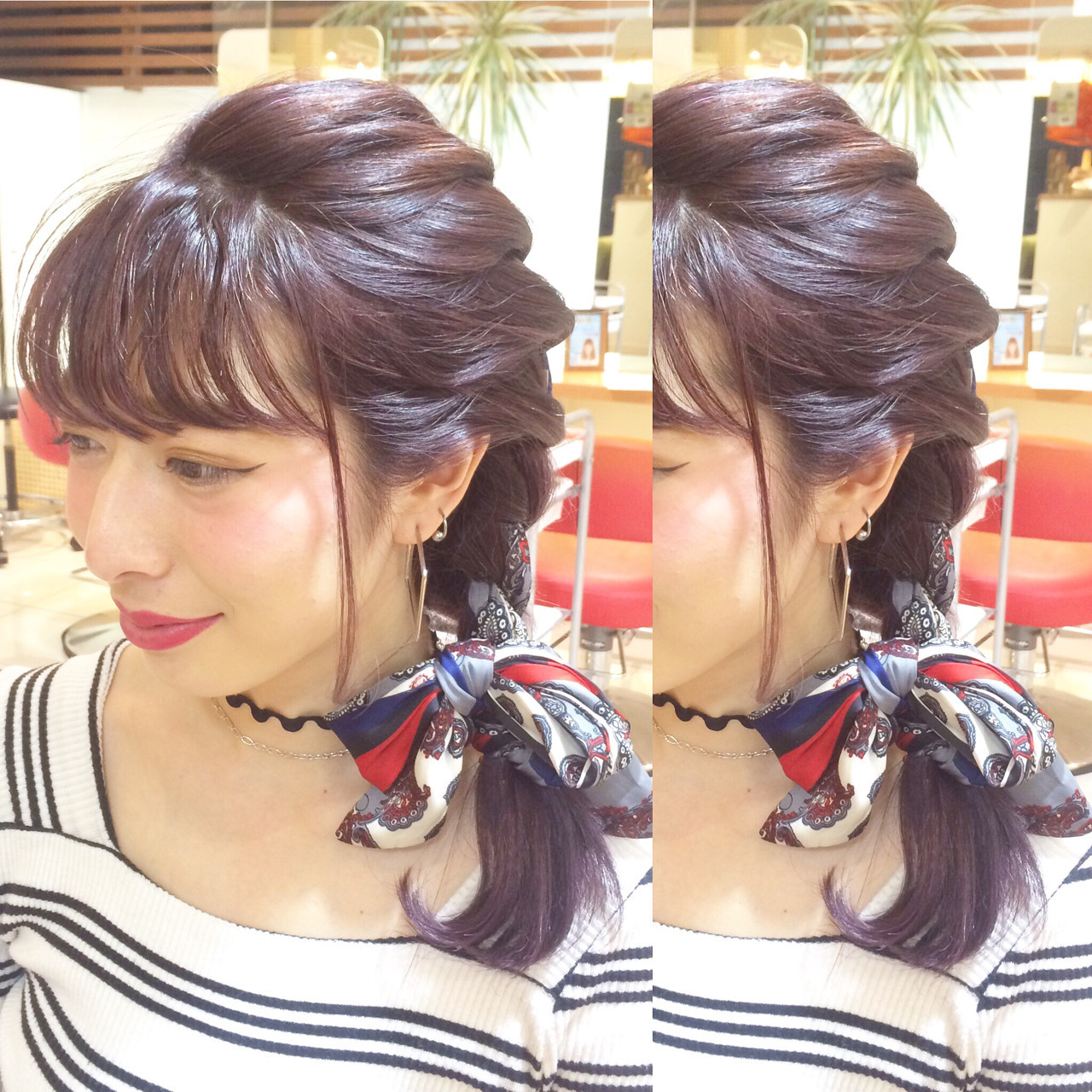 ミディアム 時短 簡単ヘアアレンジ ヘアアクセ ヘアスタイルや髪型の写真・画像