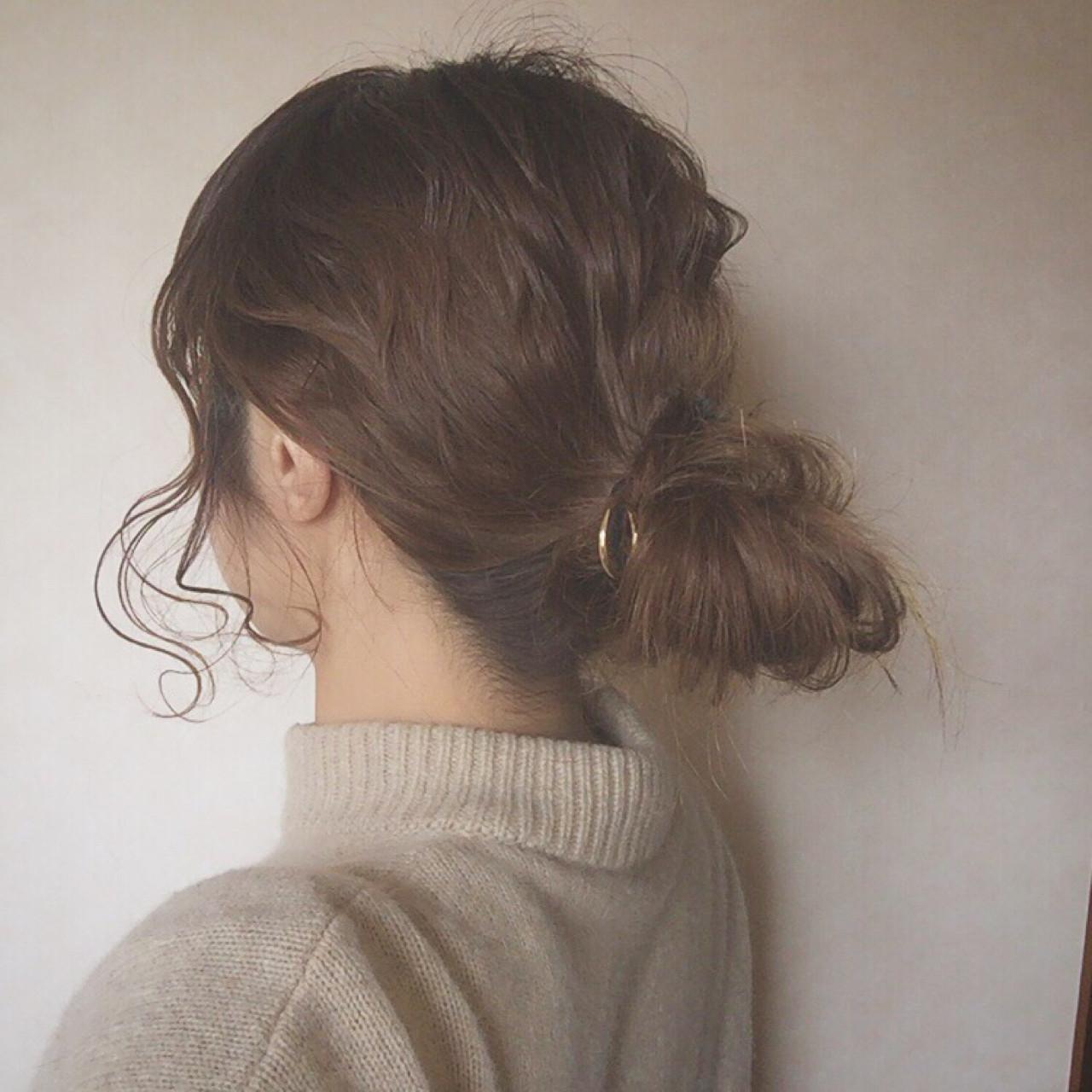 ナチュラル お団子 ヘアアレンジ 大人かわいい ヘアスタイルや髪型の写真・画像