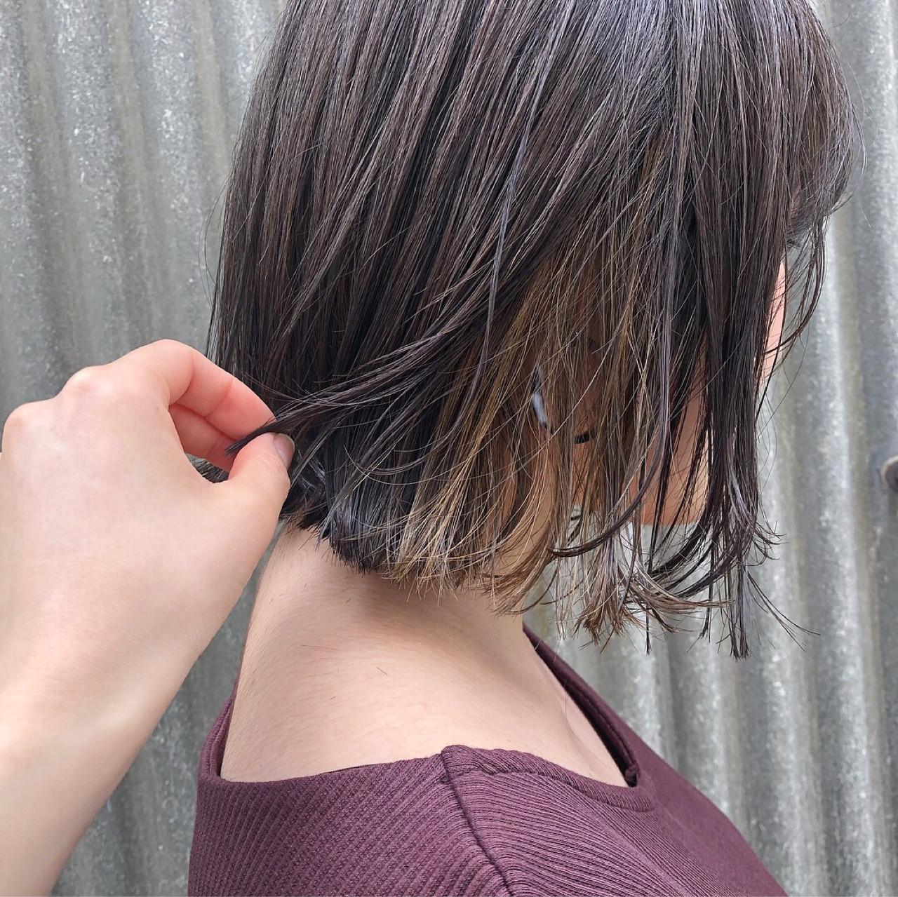色気 ボブ スモーキーカラー ストリート ヘアスタイルや髪型の写真・画像