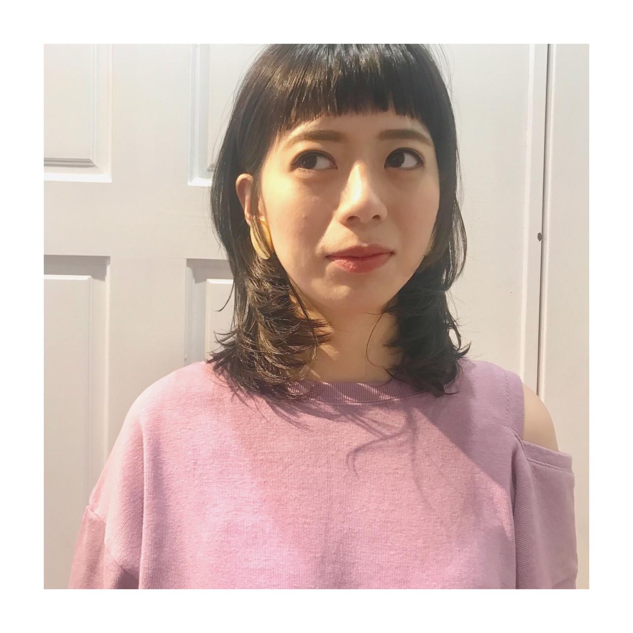 モード ミディアム 外ハネ マッシュ ヘアスタイルや髪型の写真・画像