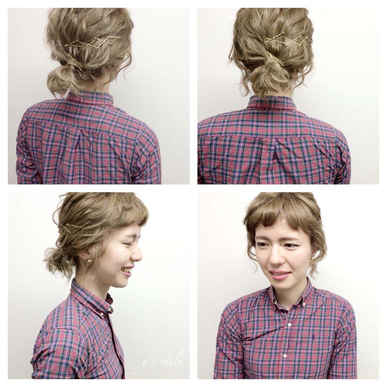 春 ショート ヘアアレンジ ストリート ヘアスタイルや髪型の写真・画像