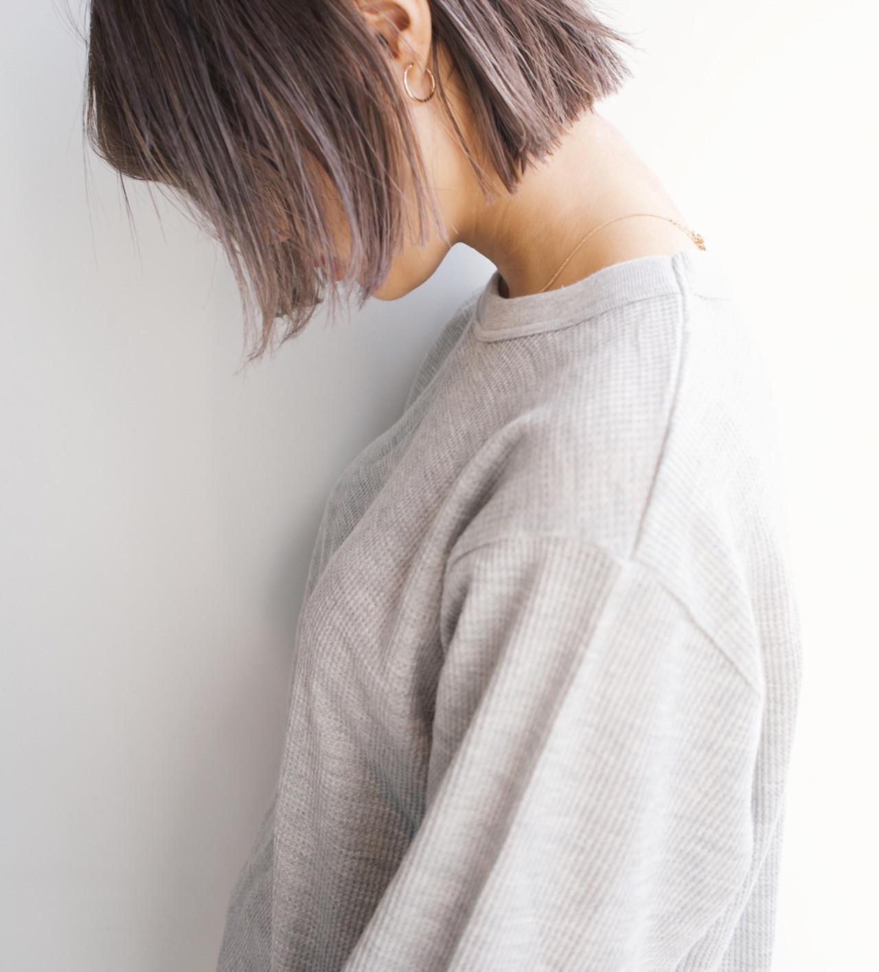 グレーアッシュ グレージュ ボブ ミルクティー ヘアスタイルや髪型の写真・画像