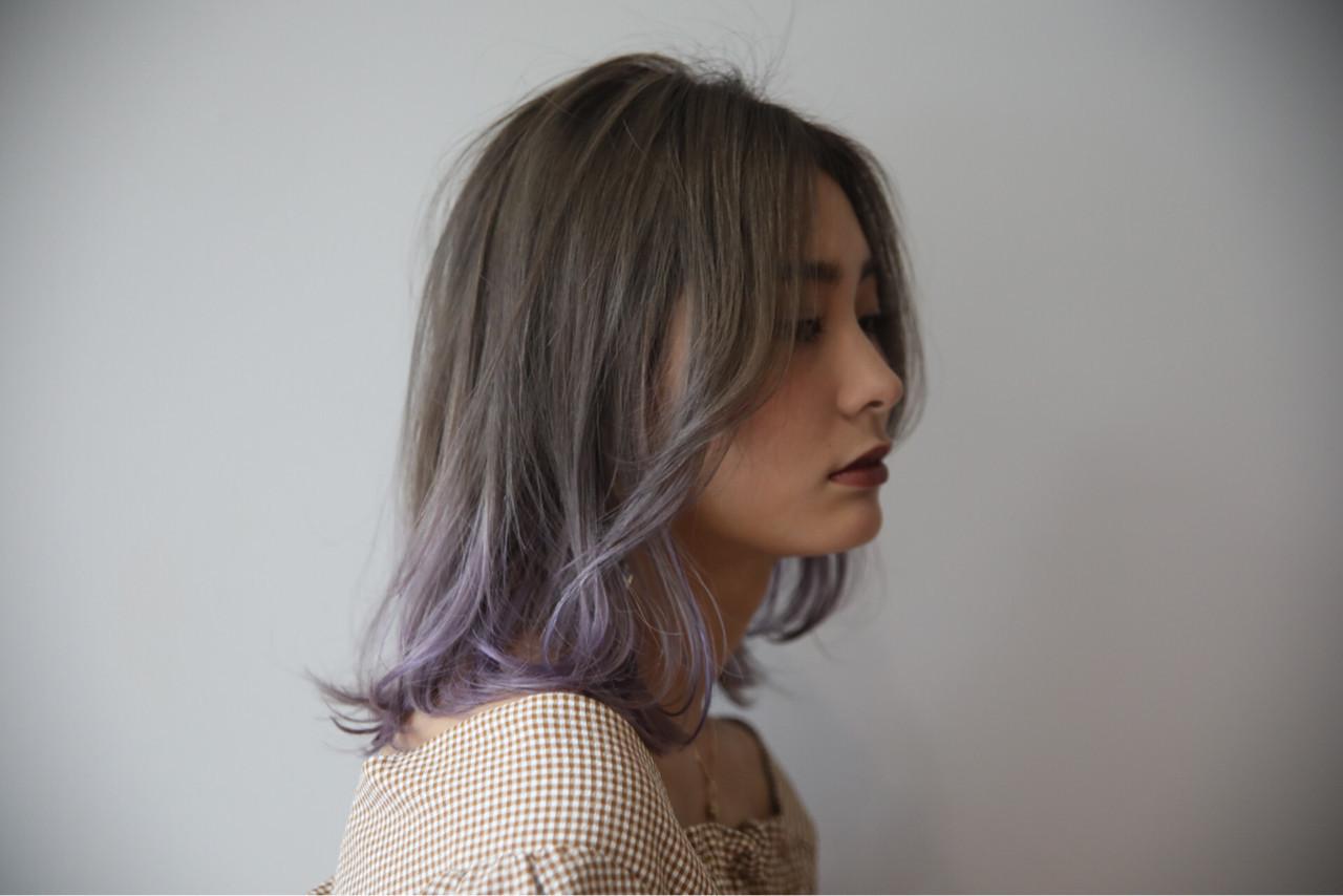 グレージュ 上品 エレガント ミディアム ヘアスタイルや髪型の写真・画像