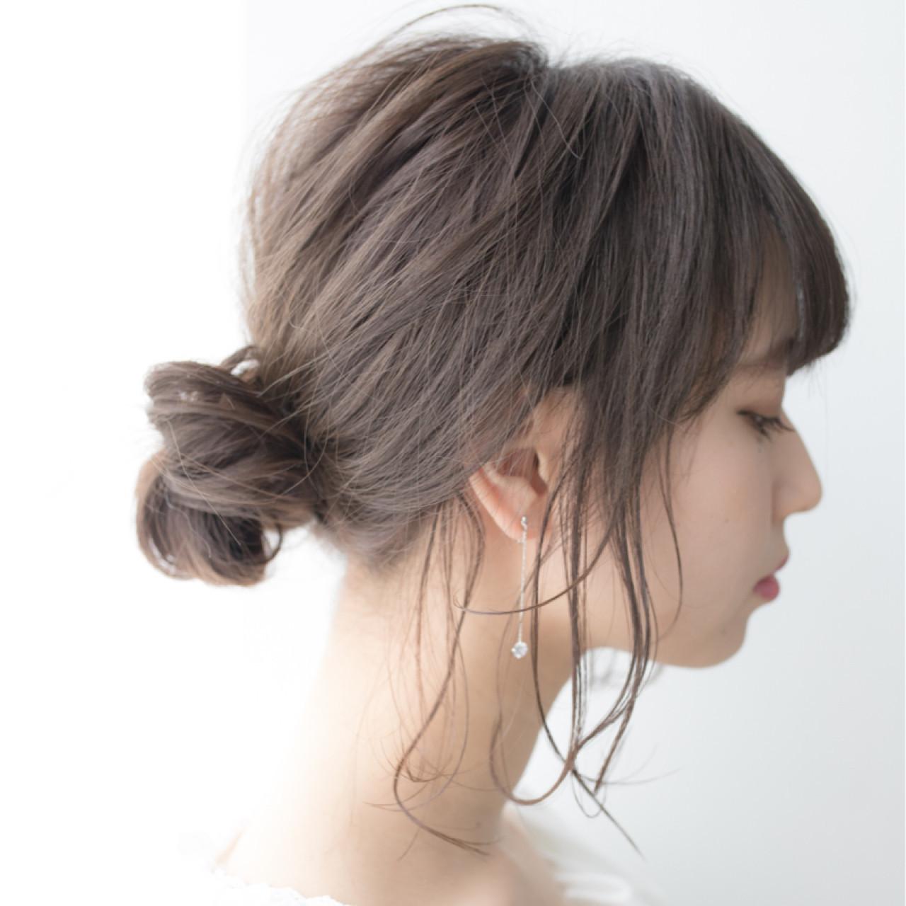 ミディアム 簡単ヘアアレンジ ヘアアレンジ 結婚式 ヘアスタイルや髪型の写真・画像