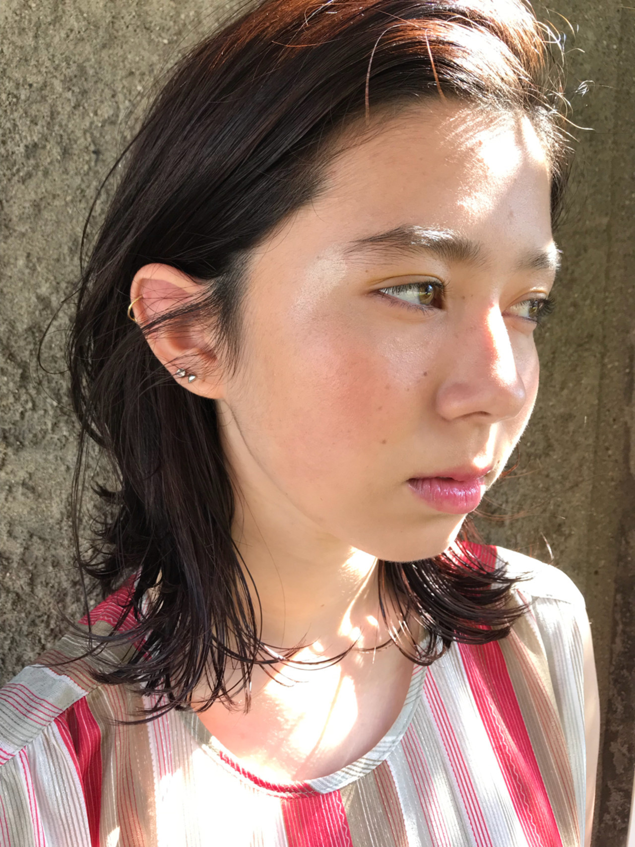 透明感 デート ミディアム ボブ ヘアスタイルや髪型の写真・画像