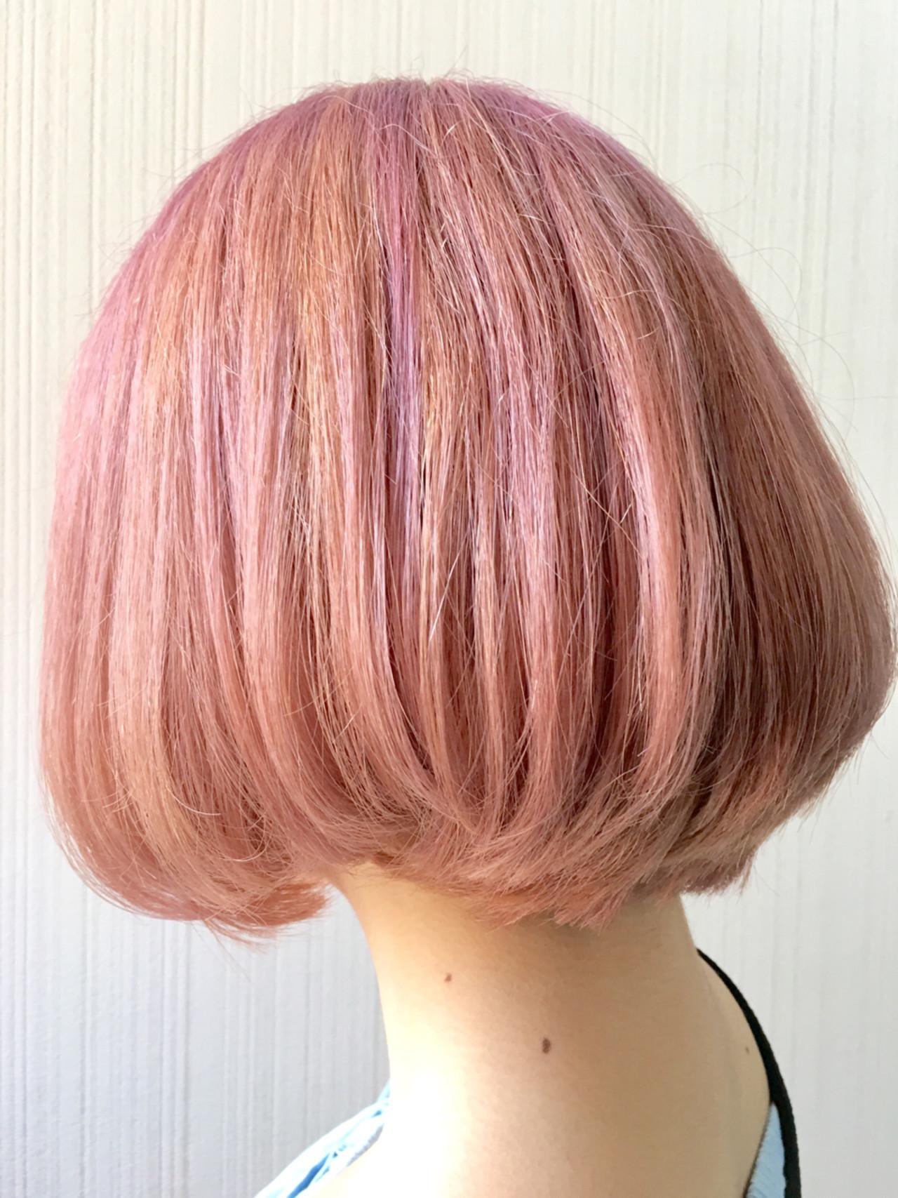 フェミニン ベージュ ボブ ピンク ヘアスタイルや髪型の写真・画像