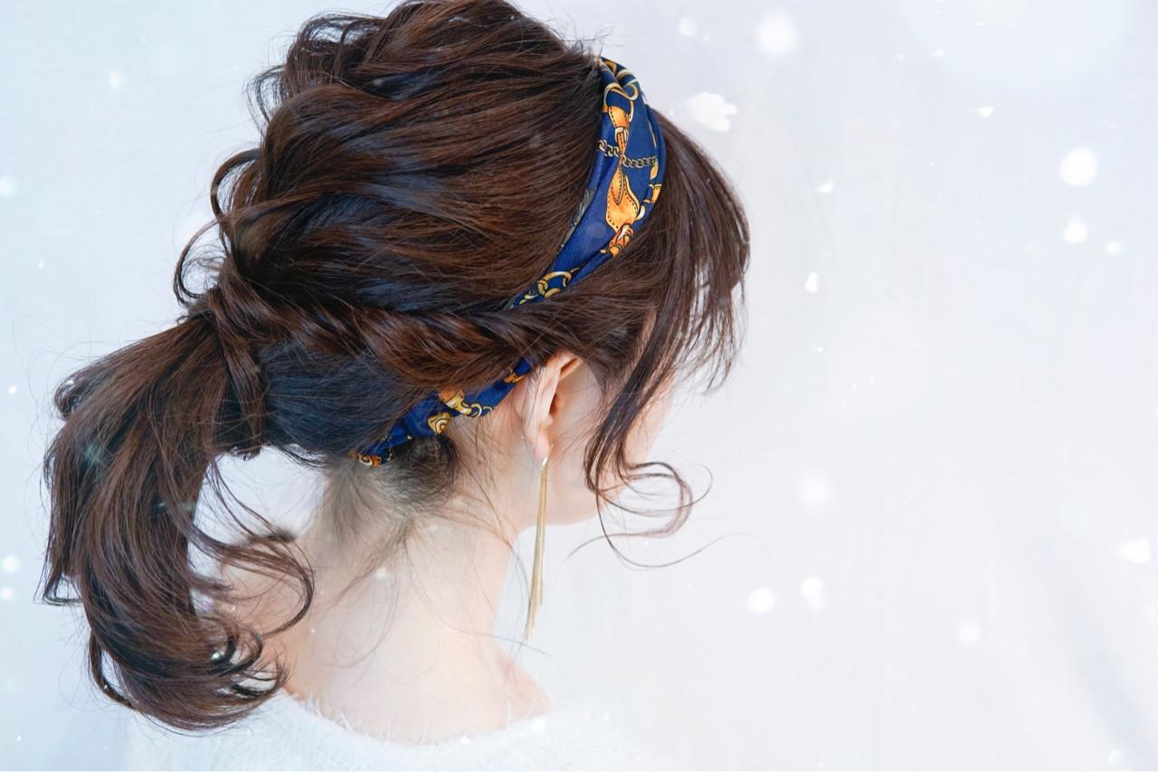 ナチュラル セミロング ヘアアクセ ヘアアレンジ ヘアスタイルや髪型の写真・画像