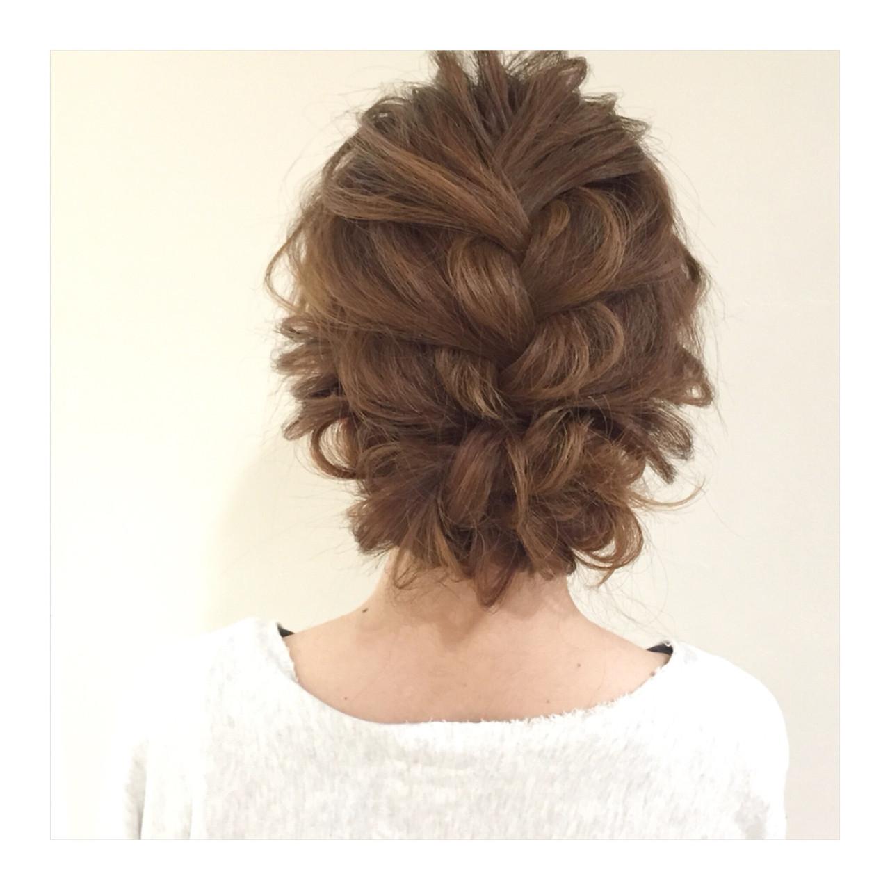 結婚式 編み込み セミロング パーティ ヘアスタイルや髪型の写真・画像