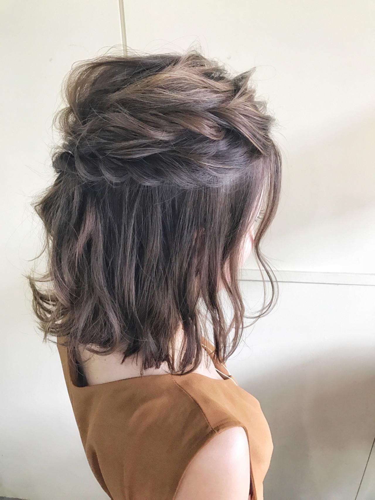 結婚式 ハーフアップ ボブ ヘアアレンジ ヘアスタイルや髪型の写真・画像