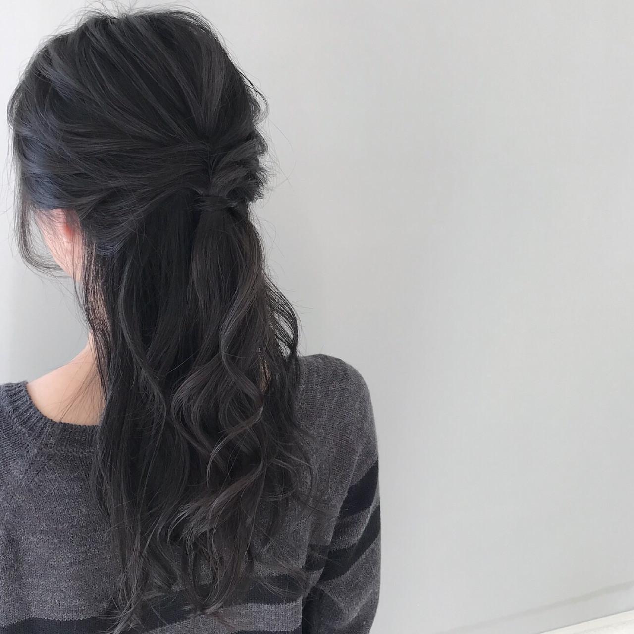 結婚式 黒髪 簡単ヘアアレンジ デート ヘアスタイルや髪型の写真・画像