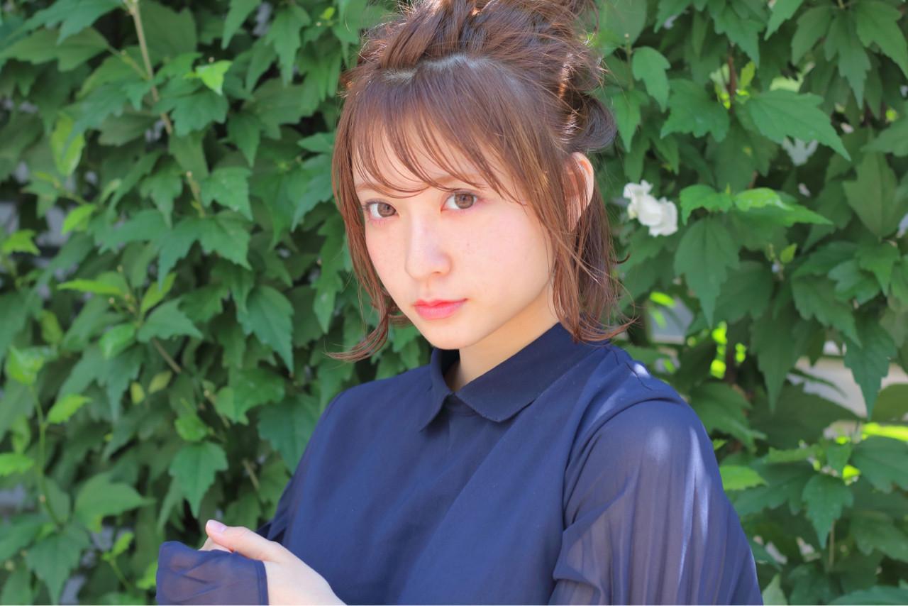 ナチュラル お団子 夏 ヘアアレンジ ヘアスタイルや髪型の写真・画像