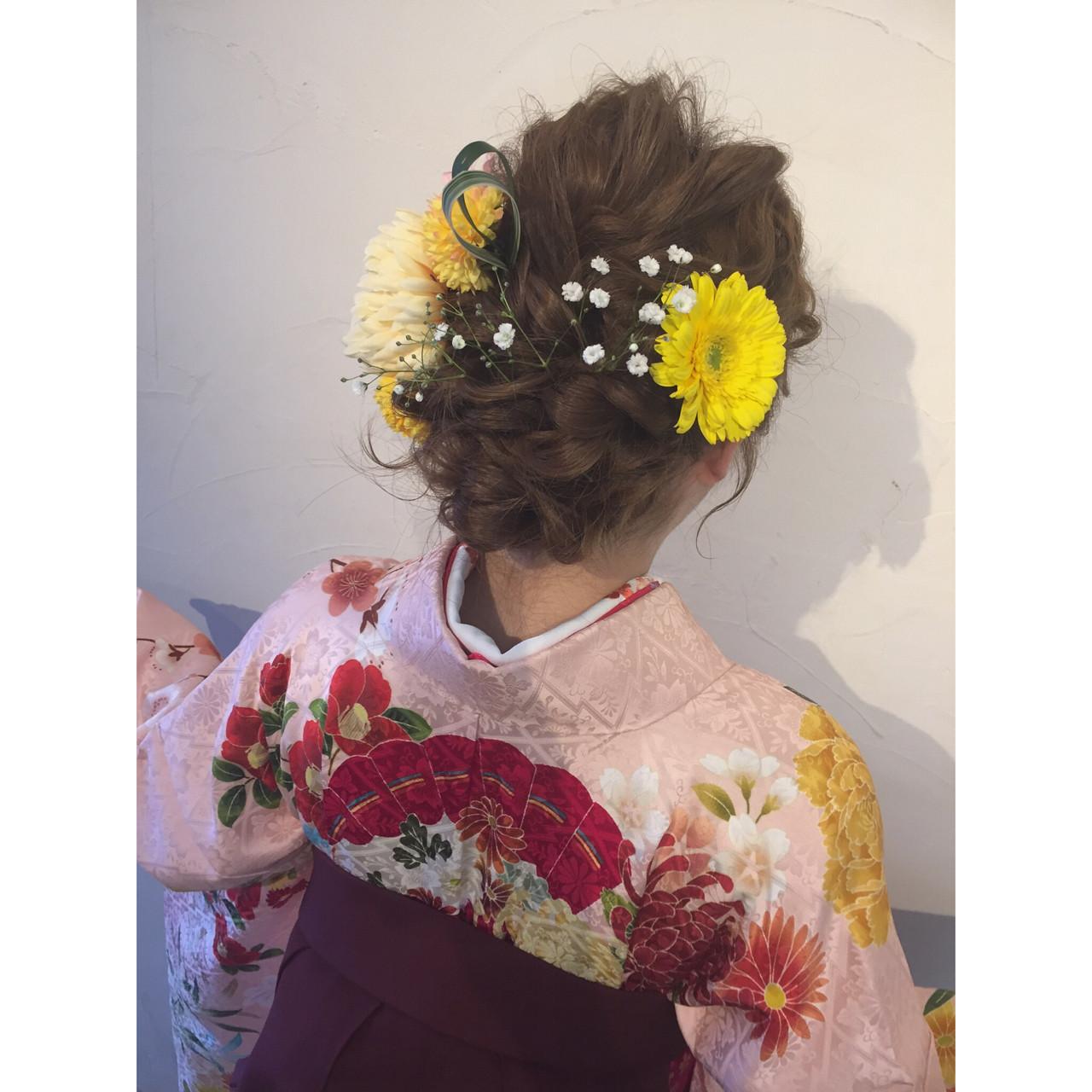 ヘアアレンジ ロング 謝恩会 花 ヘアスタイルや髪型の写真・画像