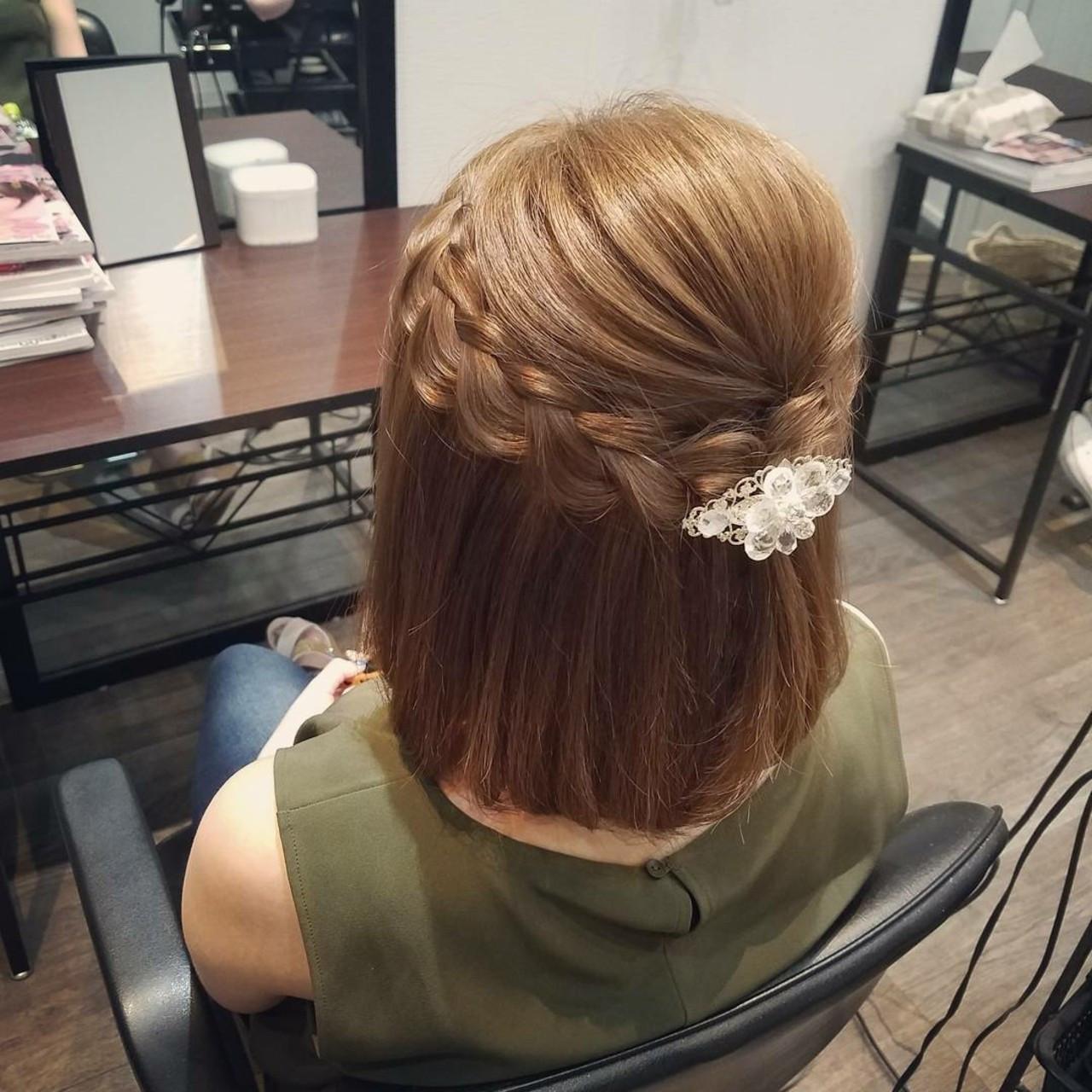 フェミニン ハーフアップ ヘアアレンジ 編み込み ヘアスタイルや髪型の写真・画像