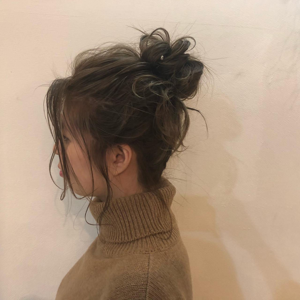ヘアアレンジ お団子 ボブ アウトドア ヘアスタイルや髪型の写真・画像