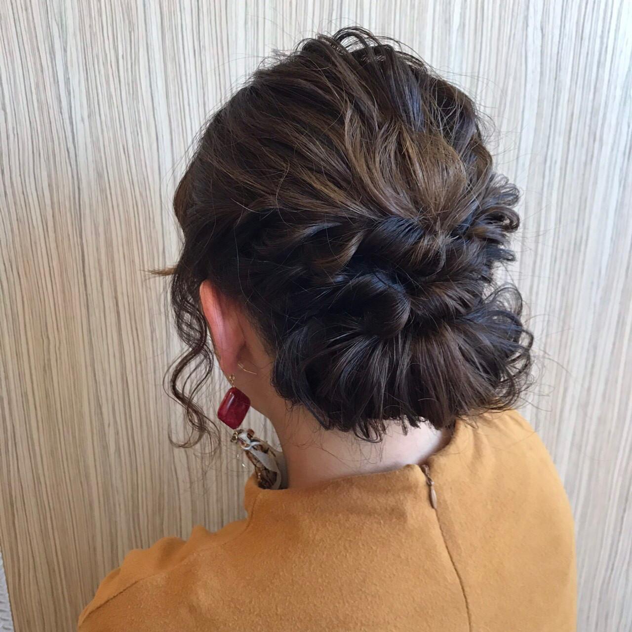 波ウェーブ ミディアム 上品 パーティ ヘアスタイルや髪型の写真・画像