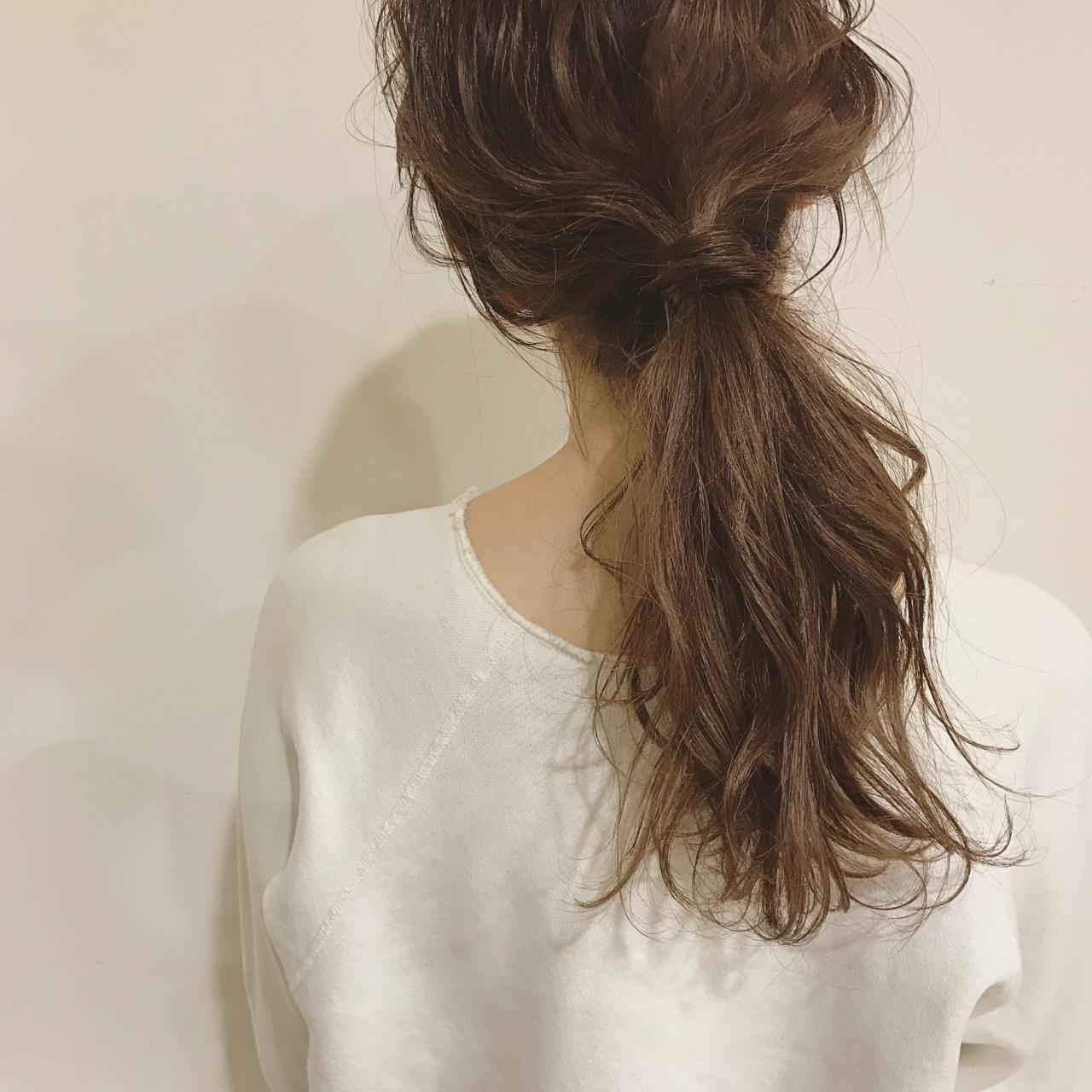 ミディアム 簡単ヘアアレンジ ミルクティー ヘアアレンジ ヘアスタイルや髪型の写真・画像