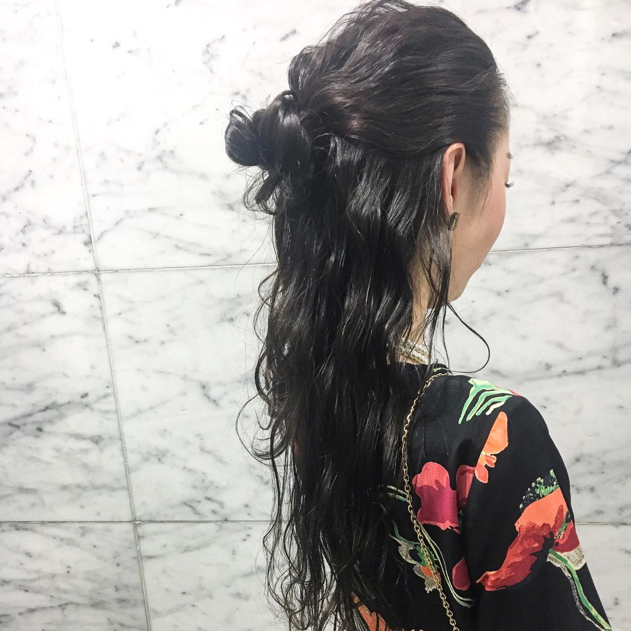 ヘアアレンジ お団子 スポーツ ハーフアップ ヘアスタイルや髪型の写真・画像