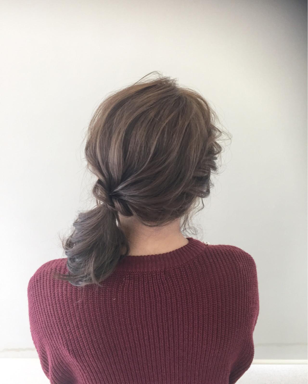ローポニーテール ヘアアレンジ 簡単ヘアアレンジ 大人女子 ヘアスタイルや髪型の写真・画像