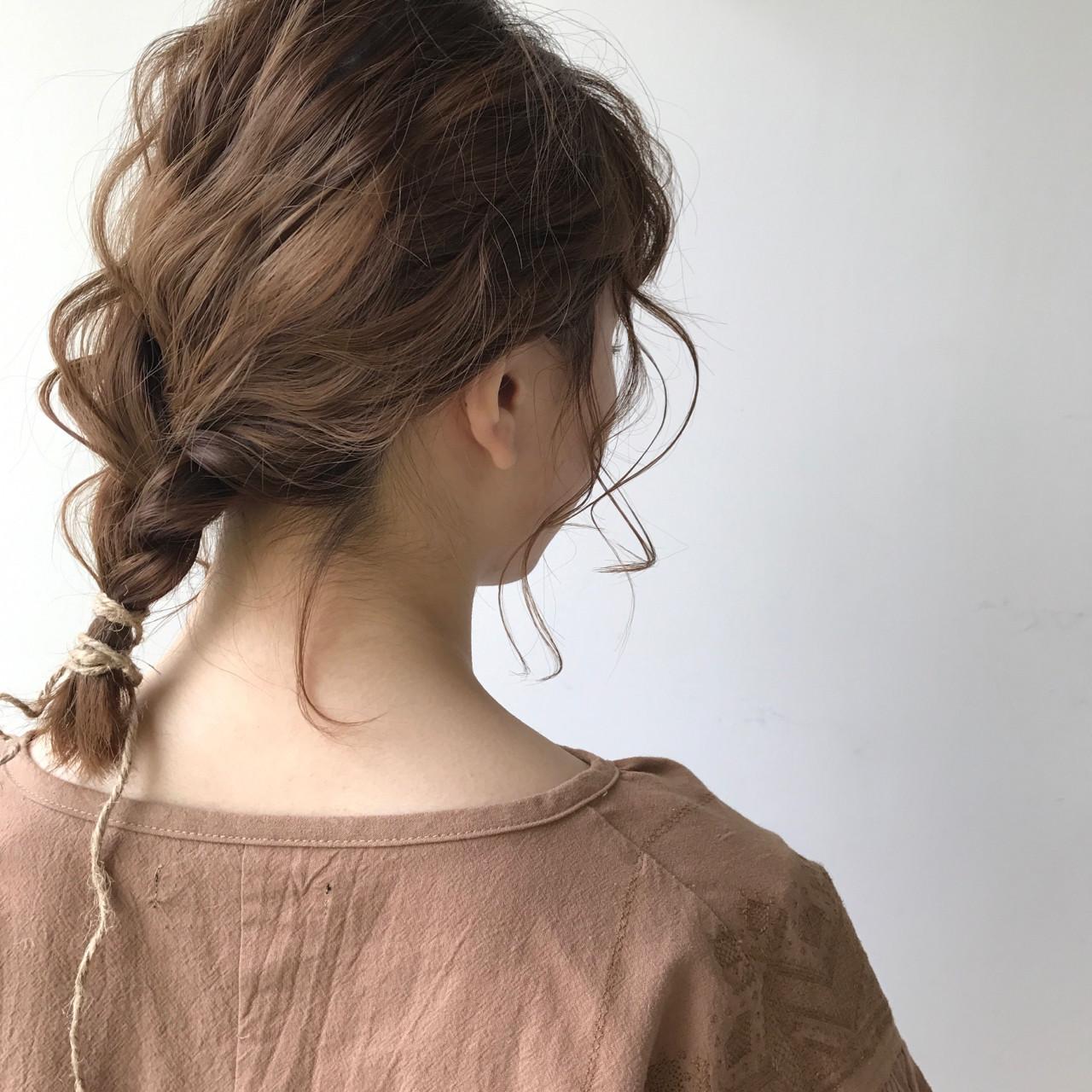 ハーフアップ フリンジバング ショート 簡単ヘアアレンジ ヘアスタイルや髪型の写真・画像