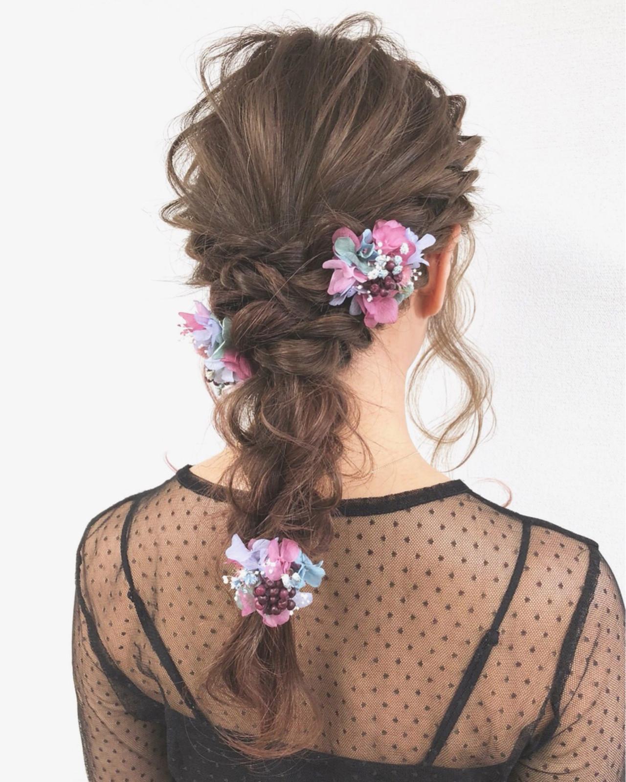 ブライダル ガーリー ロング 編み込み ヘアスタイルや髪型の写真・画像