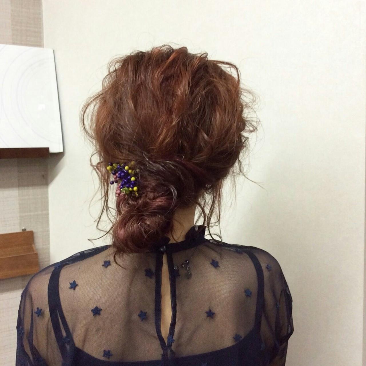 ヘアアレンジ フェミニン 編み込み セミロング ヘアスタイルや髪型の写真・画像