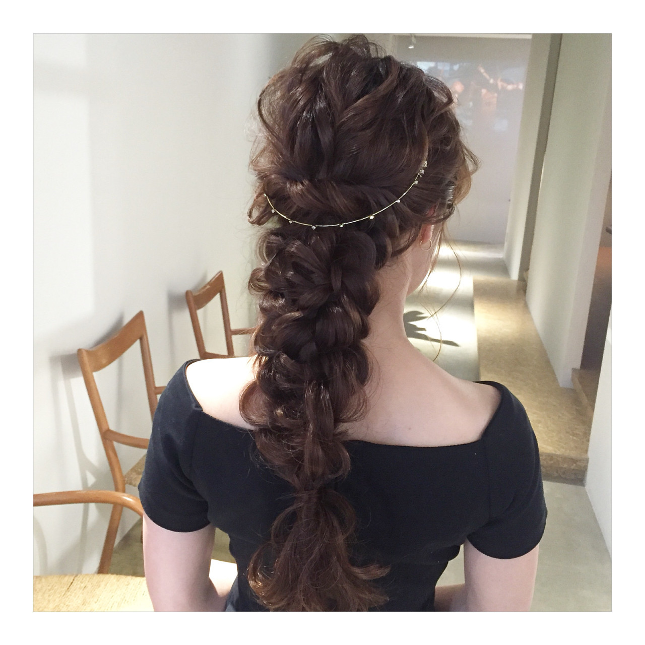 上品 編み込み エレガント ロング ヘアスタイルや髪型の写真・画像