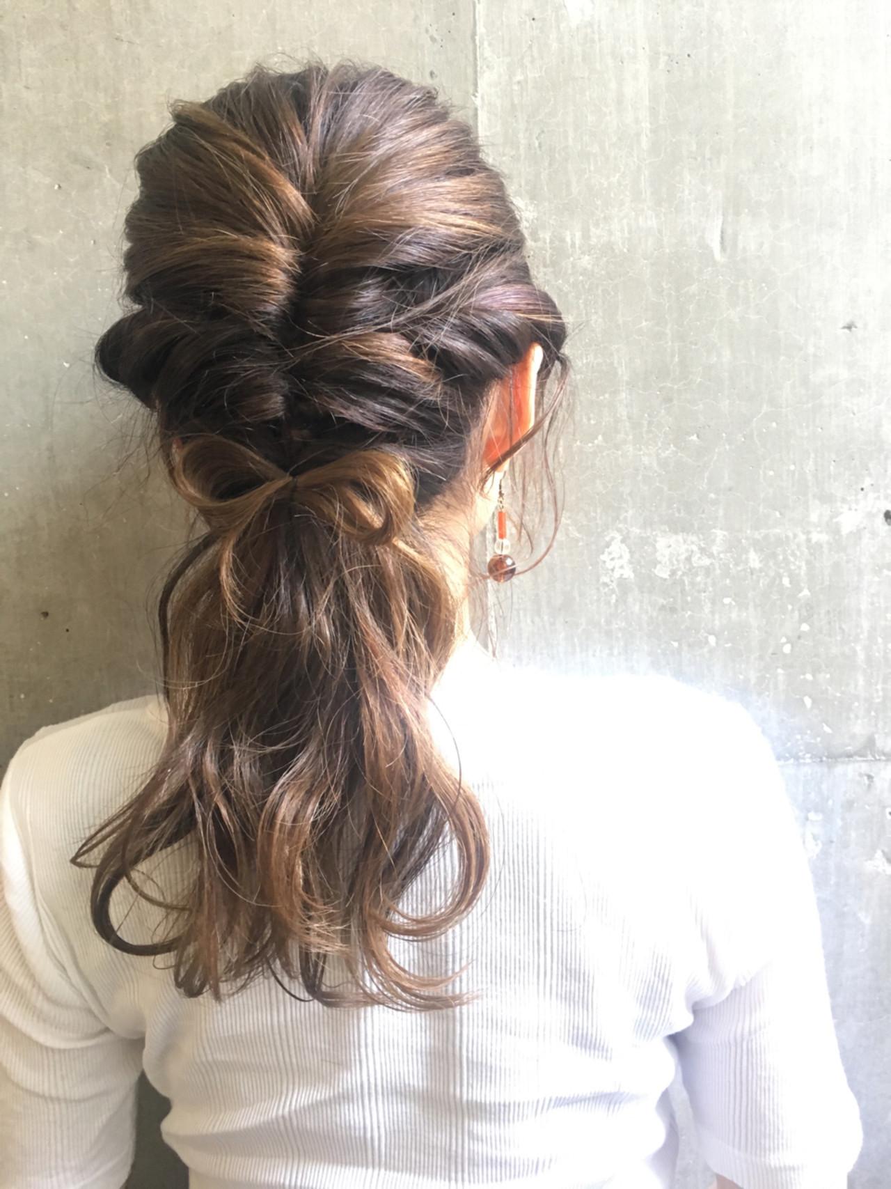 ヘアアレンジ フェミニン 編み込み くるりんぱ ヘアスタイルや髪型の写真・画像