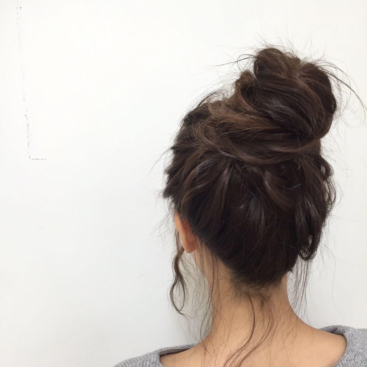 ガーリー お団子 アップスタイル ロング ヘアスタイルや髪型の写真・画像