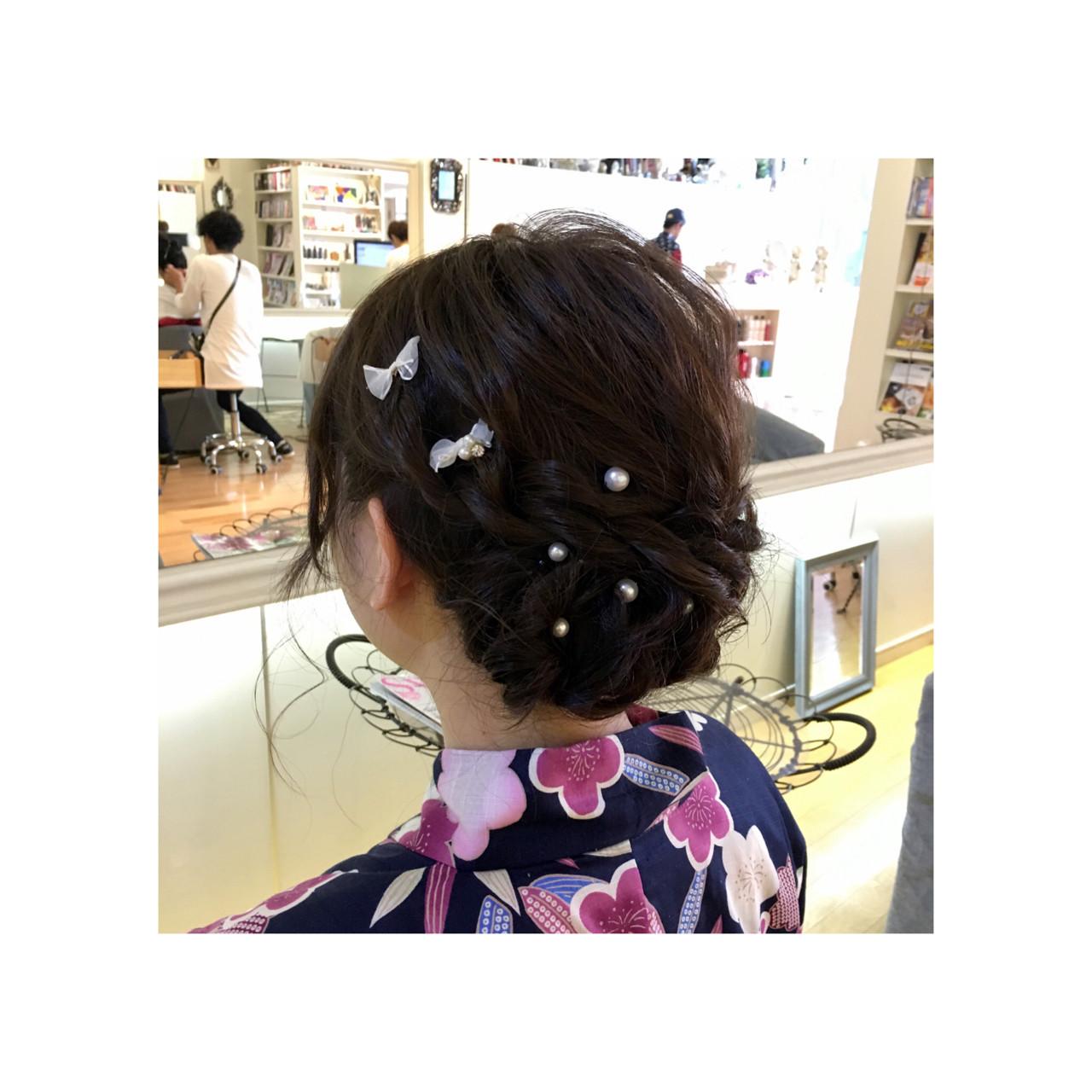 ゆるふわ 和装 ミディアム 夏 ヘアスタイルや髪型の写真・画像