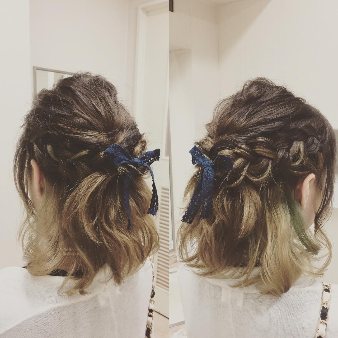編み込み 結婚式 ボブ フェミニン ヘアスタイルや髪型の写真・画像