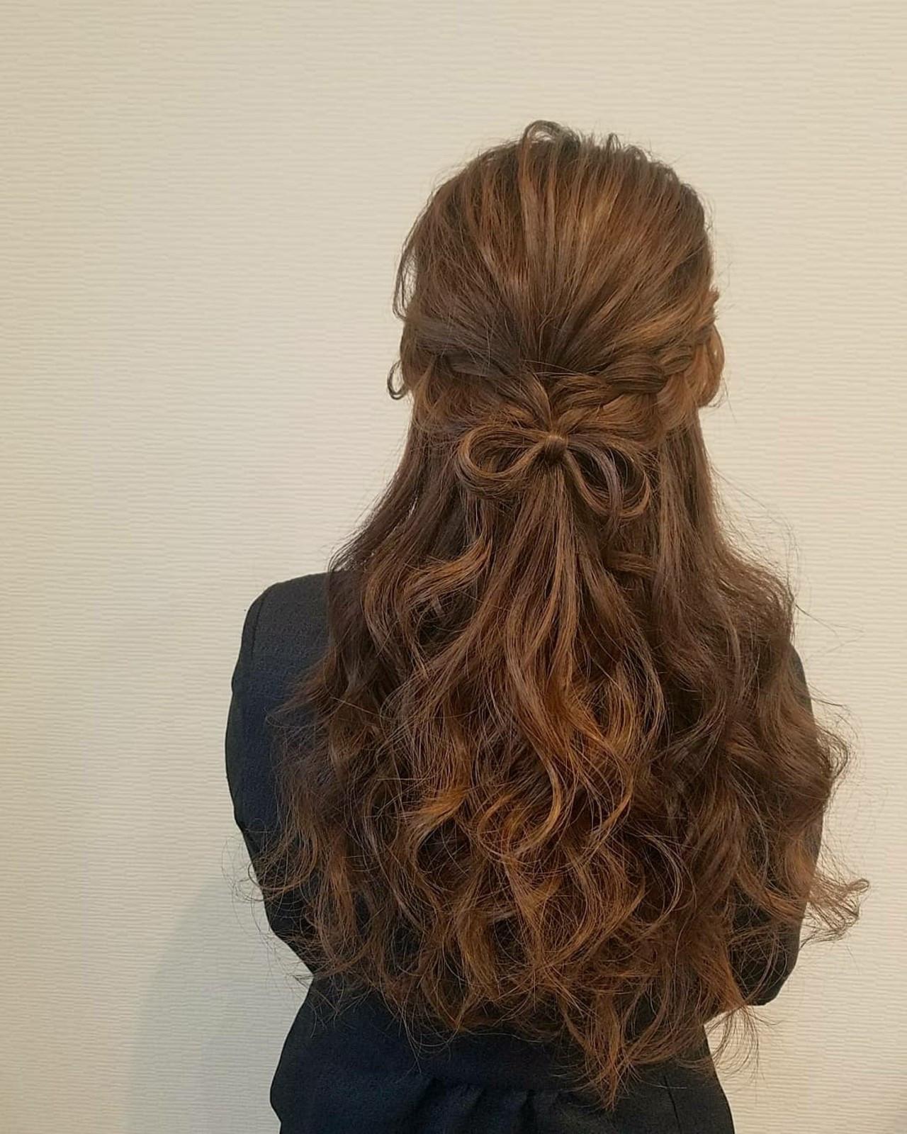 ロング ハーフアップ ガーリー フェミニン ヘアスタイルや髪型の写真・画像