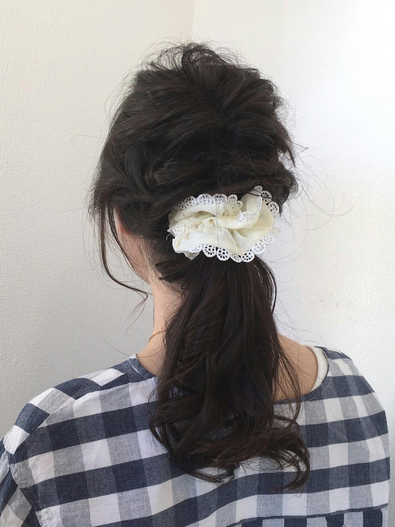 ヘアアレンジ くるりんぱ ポニーテール ガーリー ヘアスタイルや髪型の写真・画像