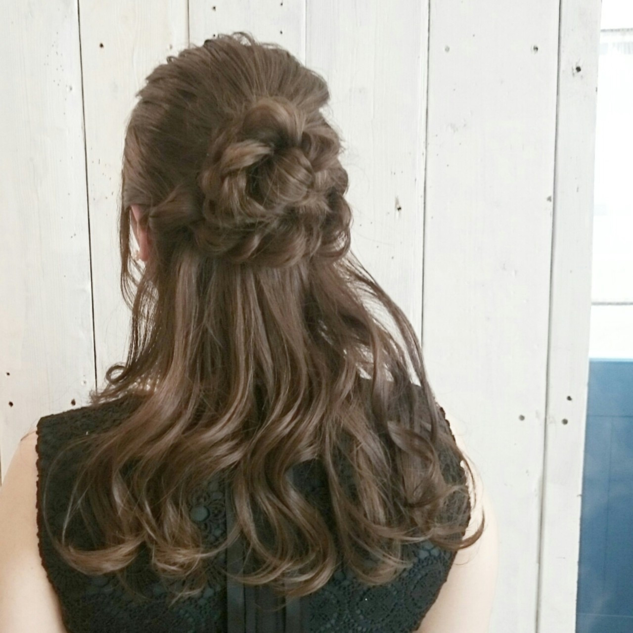 結婚式 ヘアアレンジ 三つ編み ガーリー ヘアスタイルや髪型の写真・画像