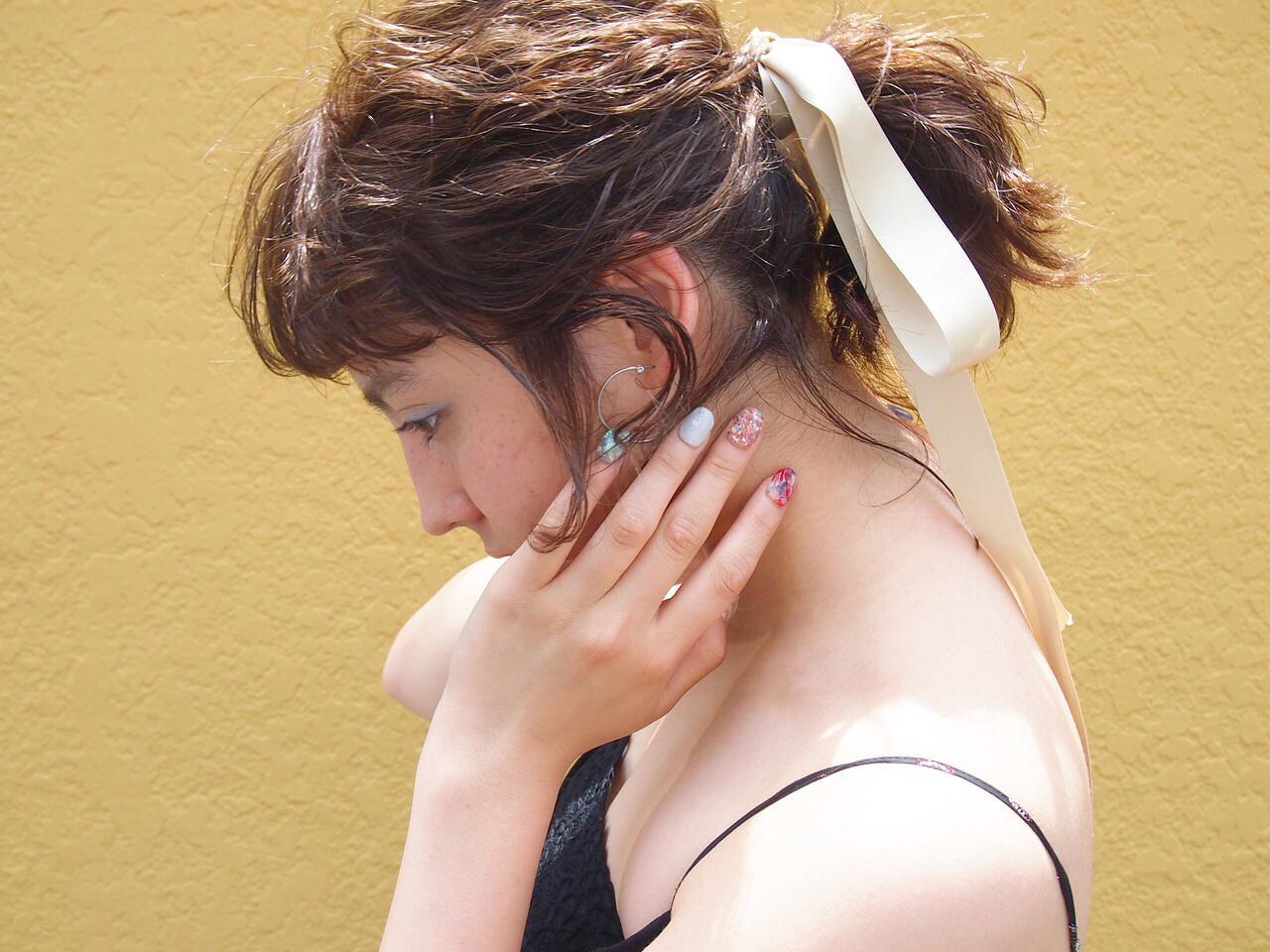 ナチュラル 涼しげ 夏 簡単 ヘアスタイルや髪型の写真・画像
