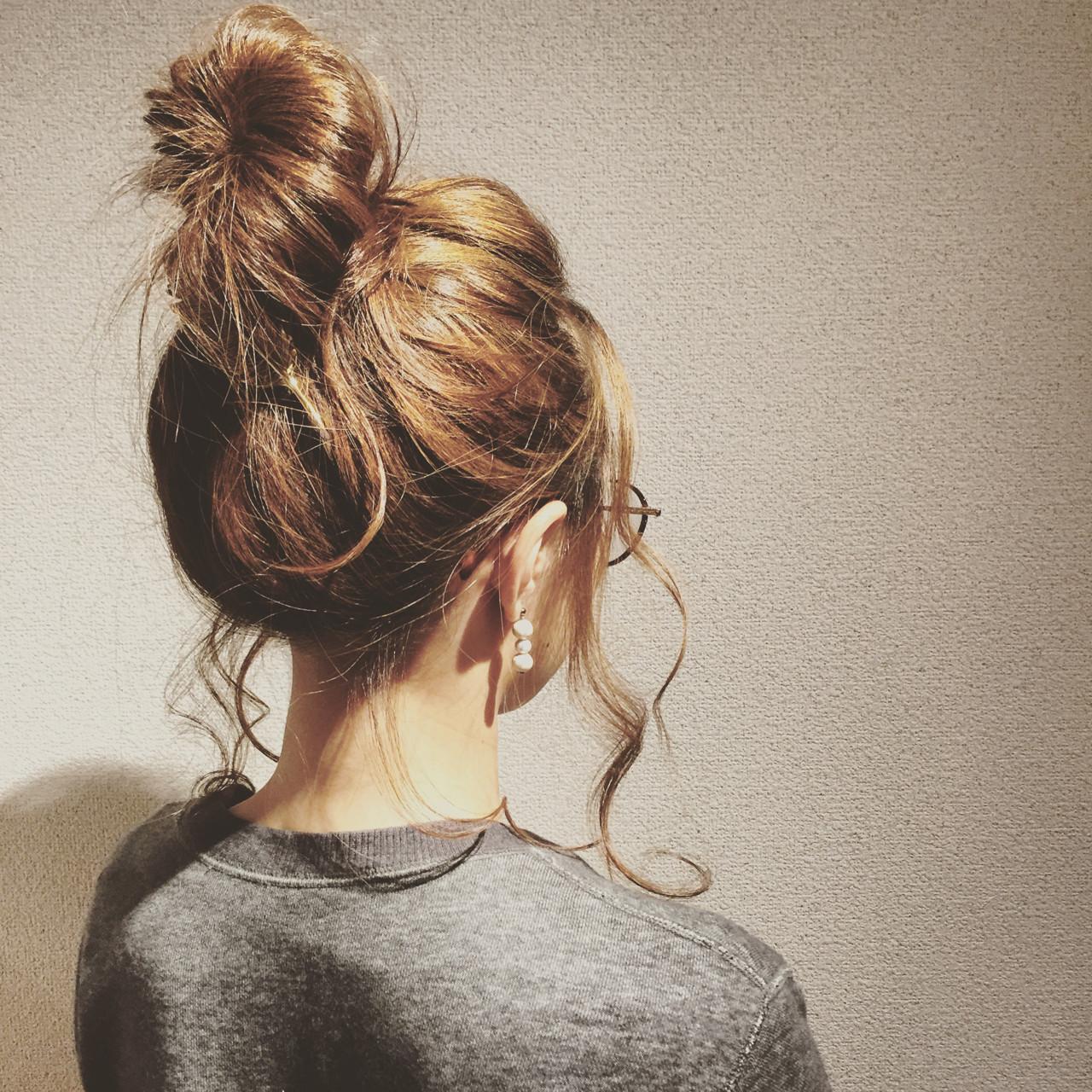 ねじり ヘアアレンジ ロング お団子 ヘアスタイルや髪型の写真・画像