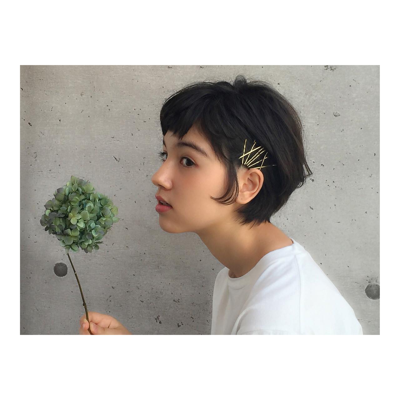 黒髪 ショート ヘアアレンジ 外国人風 ヘアスタイルや髪型の写真・画像