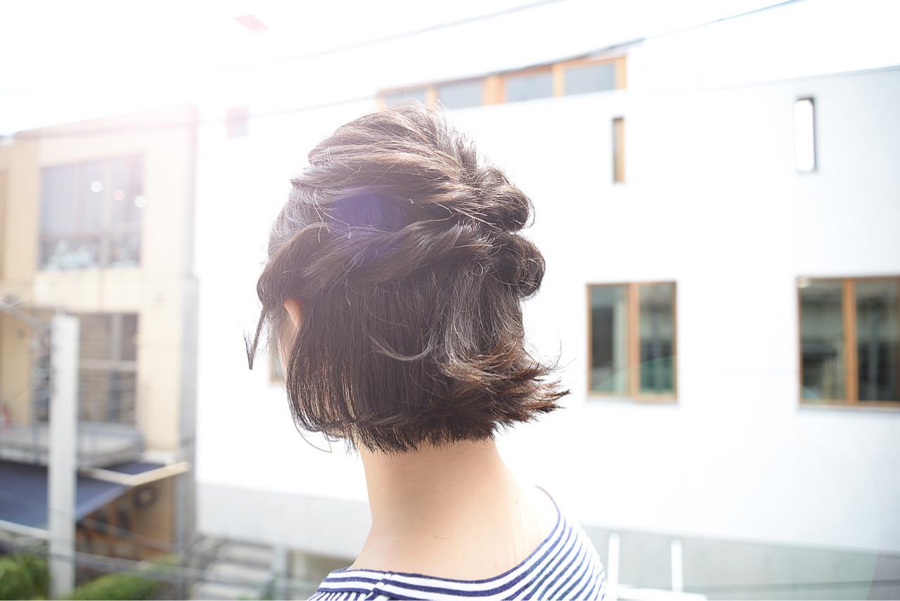 ハーフアップ ヘアアレンジ ボブ 大人かわいい ヘアスタイルや髪型の写真・画像