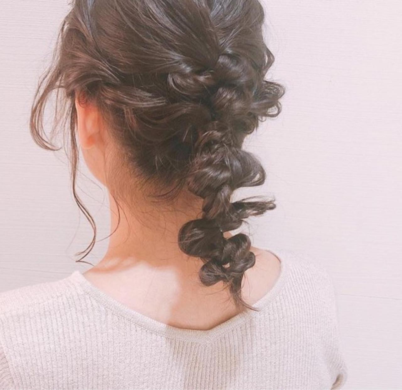 ヘアアレンジ デート 二次会 編み込み ヘアスタイルや髪型の写真・画像