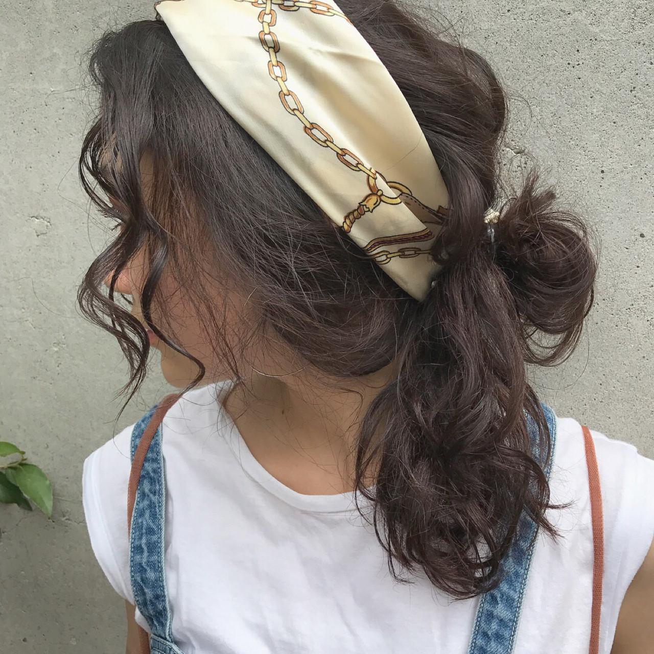 ストリート 簡単ヘアアレンジ お団子 ヘアアレンジ ヘアスタイルや髪型の写真・画像