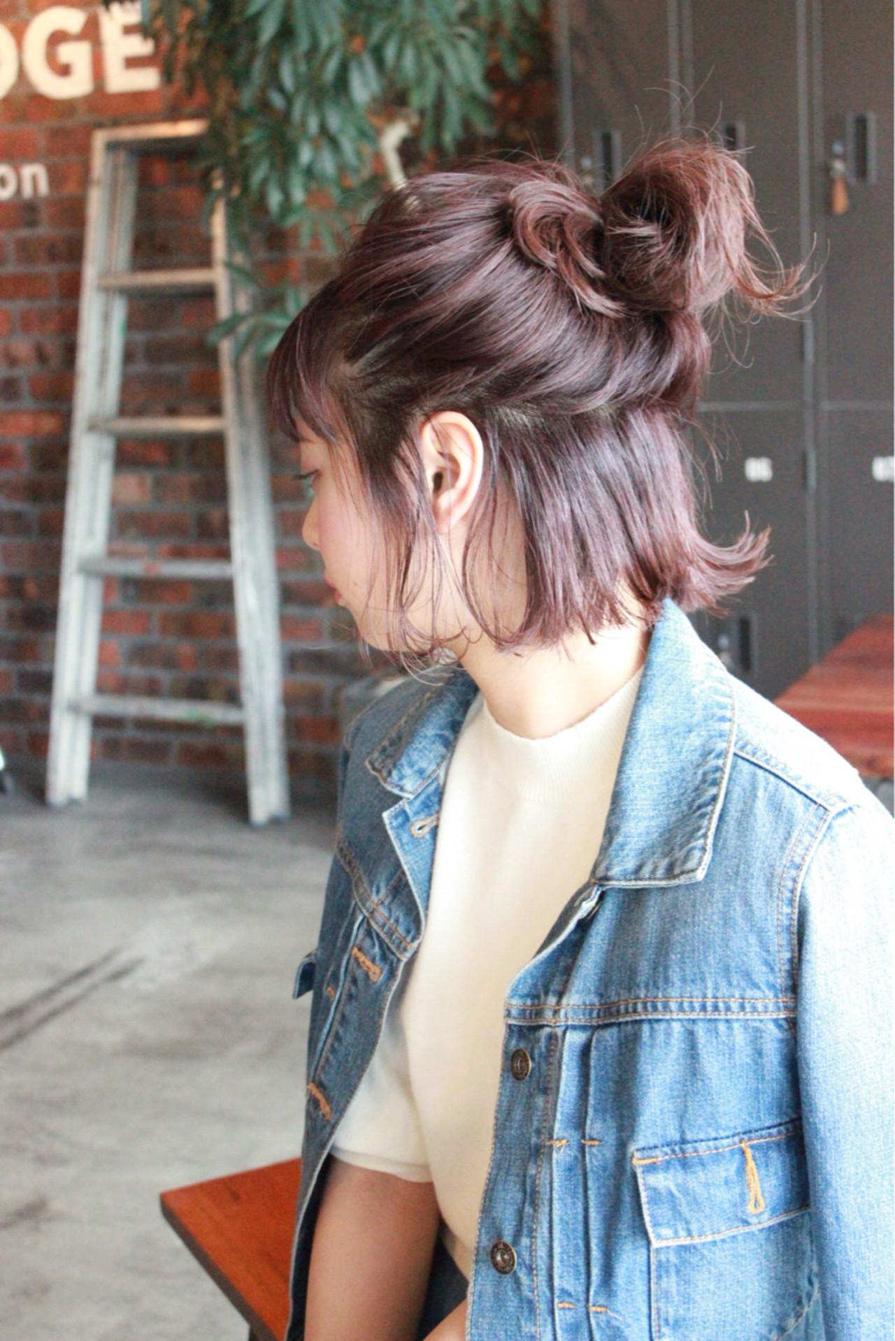 ハーフアップ お団子 簡単ヘアアレンジ ガーリー ヘアスタイルや髪型の写真・画像
