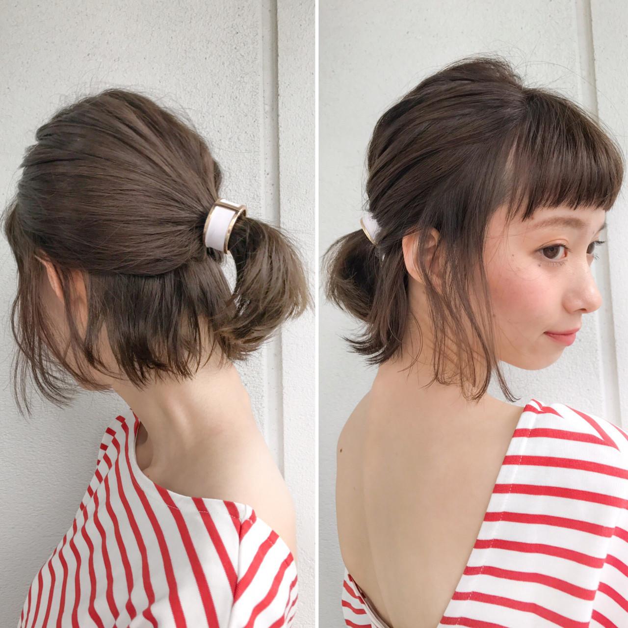 簡単ヘアアレンジ ボブ ミルクティー ハーフアップ ヘアスタイルや髪型の写真・画像