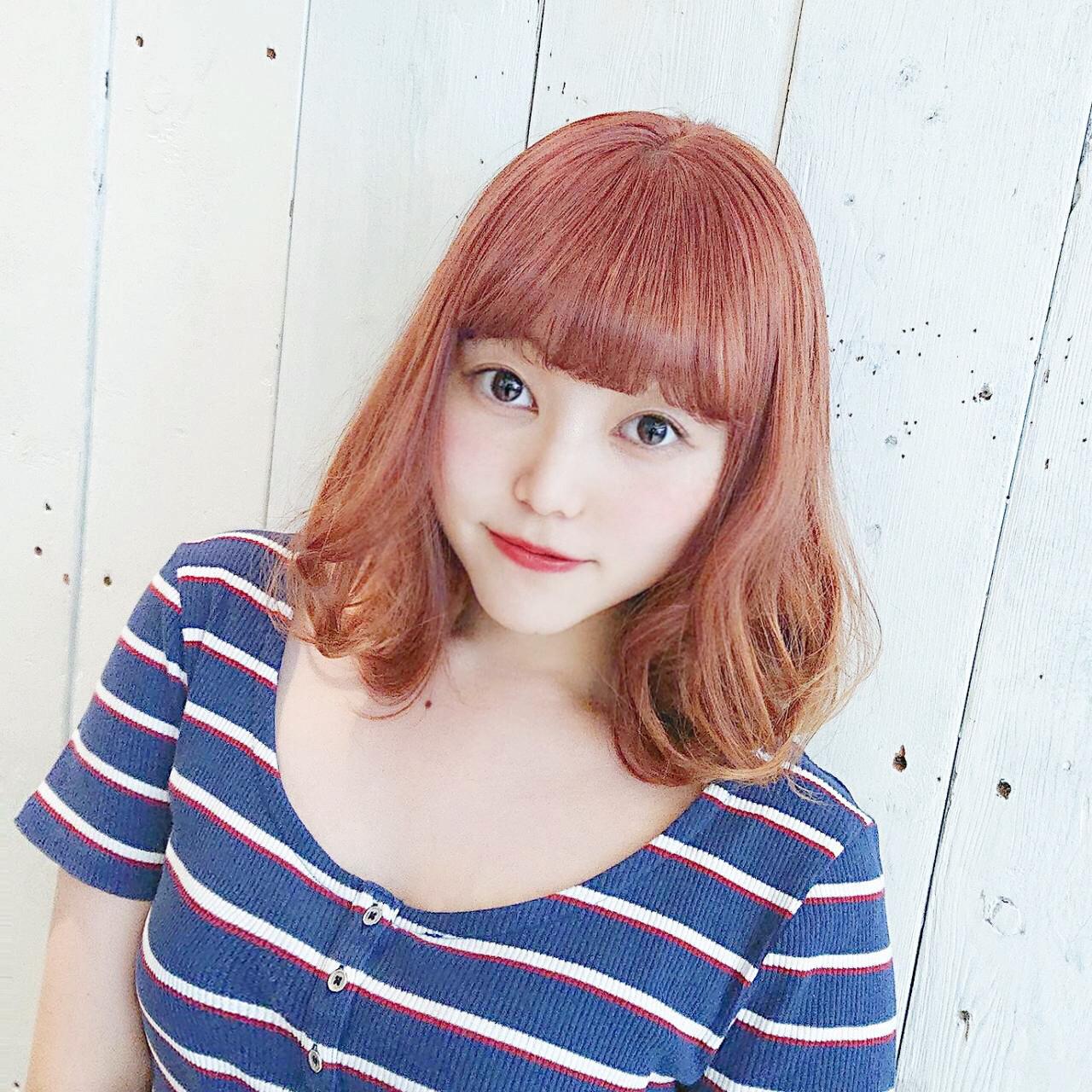 ゆるふわ ガーリー イエロー オレンジ ヘアスタイルや髪型の写真・画像
