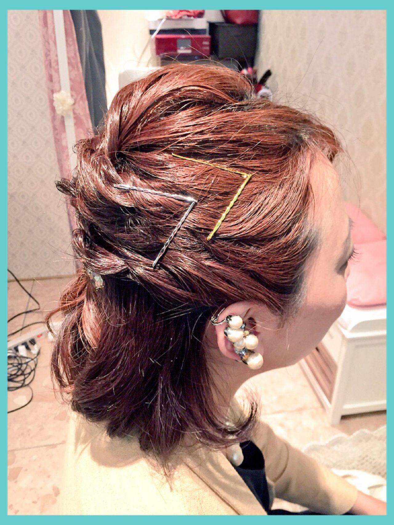 ヘアピン ヘアアクセ 愛され コンサバ ヘアスタイルや髪型の写真・画像
